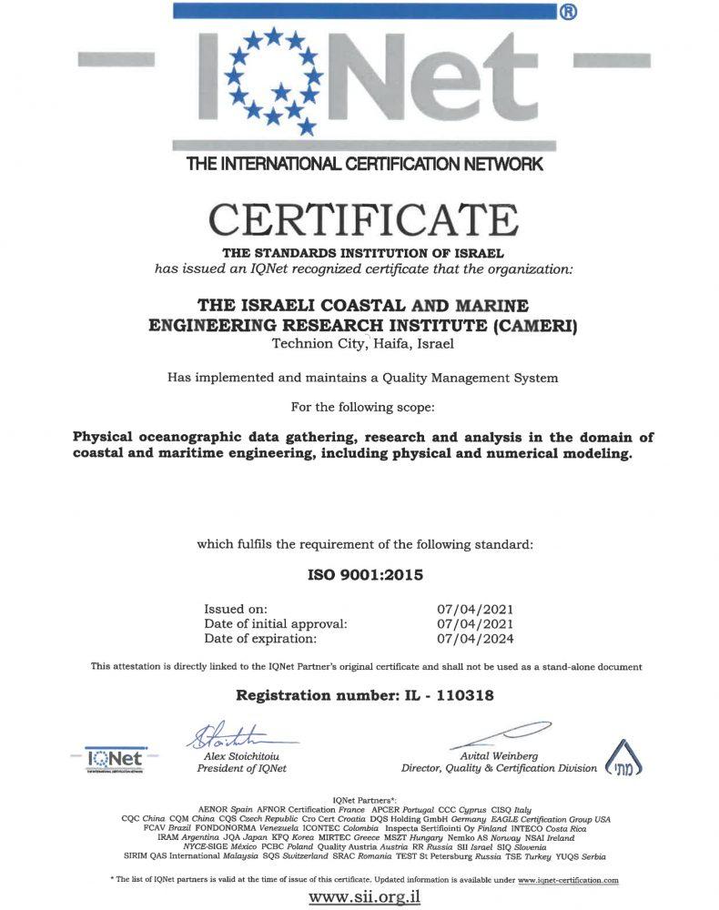 CAMERI ISO 9000:2015 IQNet